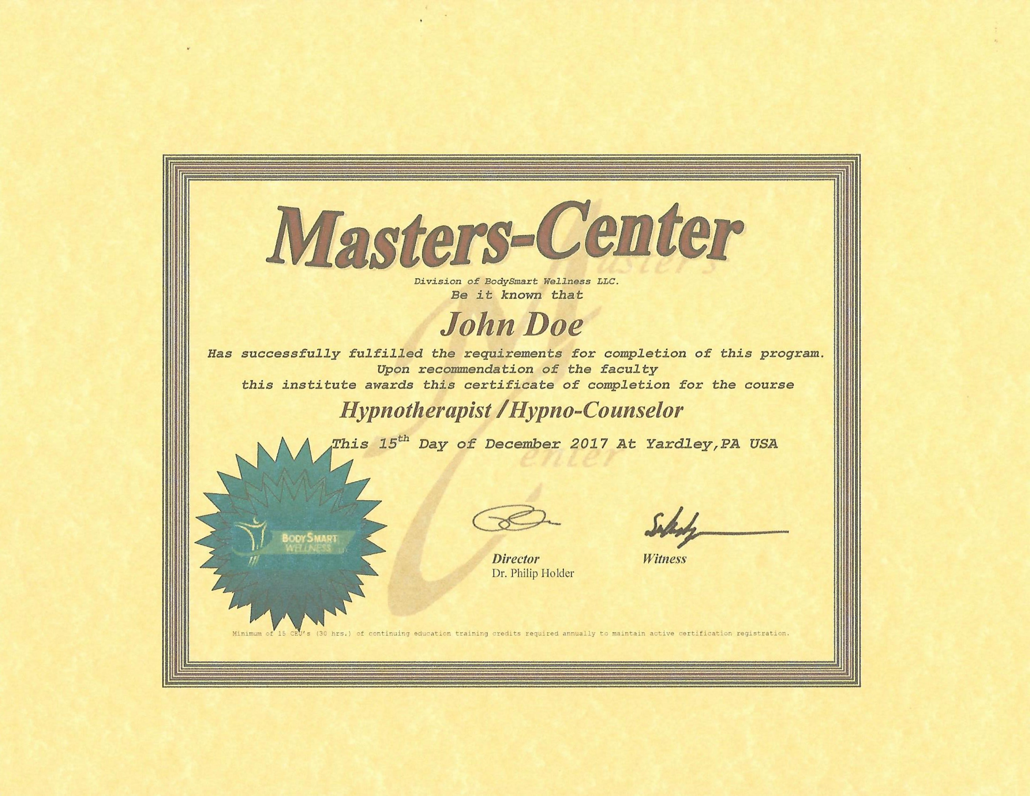 Hypnotherapy Hypno Counseling Certification Courses Masters